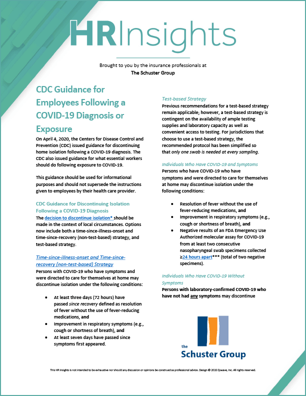 CDC Guidance for Employees Following a COVID-19 Diagnosis or Exposure from Schuster Group