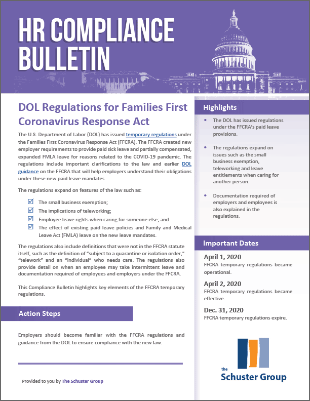 DOL Regulations for Families First Coronavirus Response Act