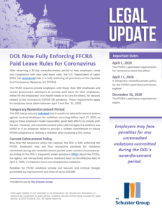 DOL Now Fully Enforcing FFCRA Paid Leave Rules for Coronavirus